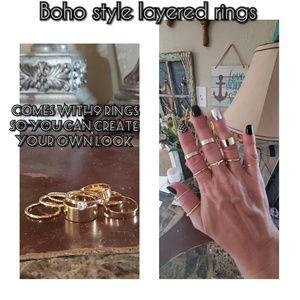 Boho style layered costume jewelry rings